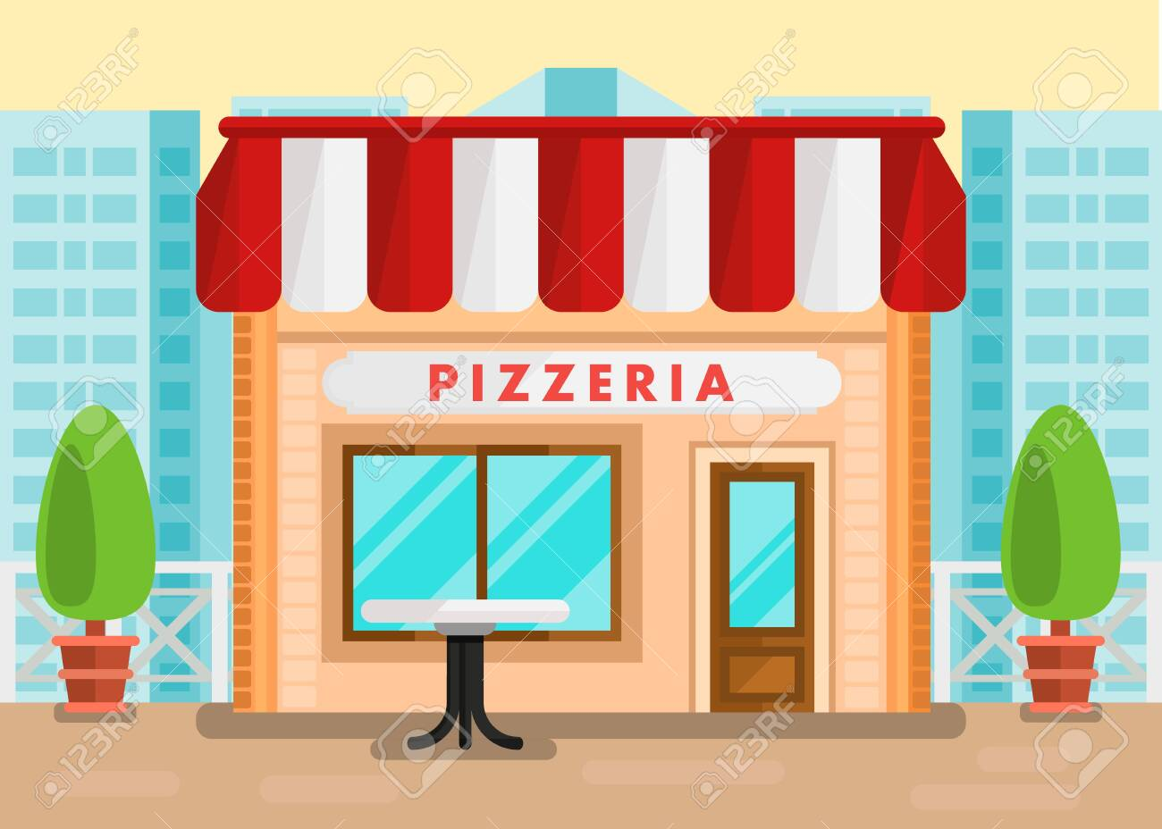 Pizzeria Outdoor Seating Cartoon Illustration Italian Cuisine Royalty Free Cliparts Vectors And Stock Illustration Image 121211065