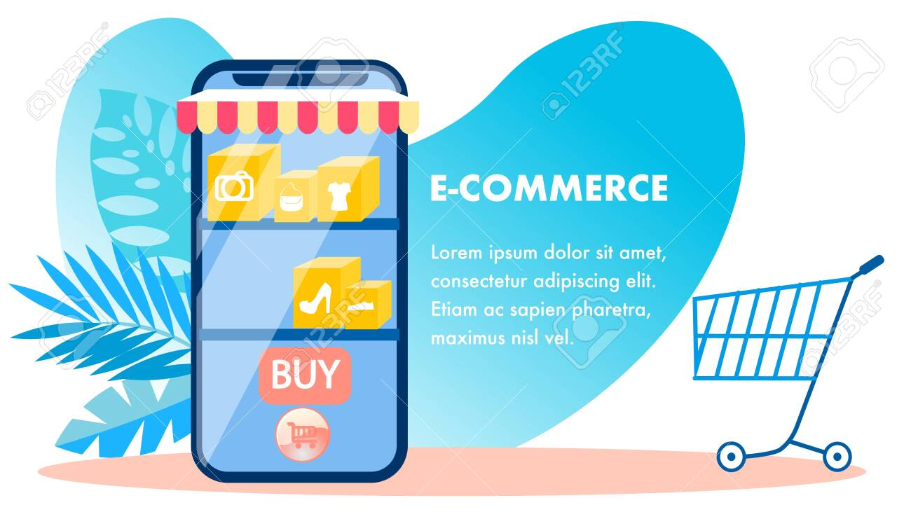 E Commerce Online Shopping Vector Banner Template Internet Royalty Free Cliparts Vectors And Stock Illustration Image 121213330