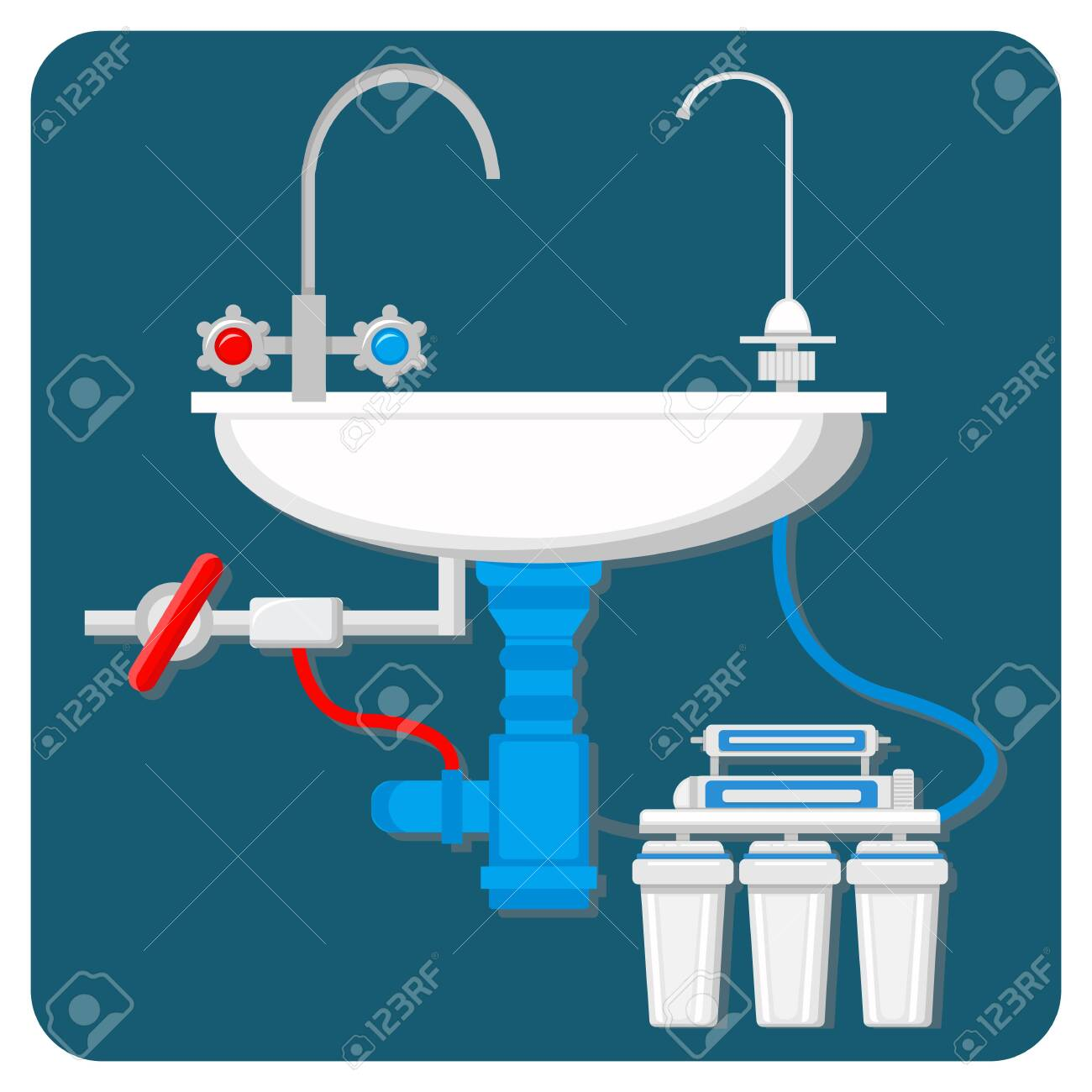 Water Purification System Vector Illustration Cartoon Pipes