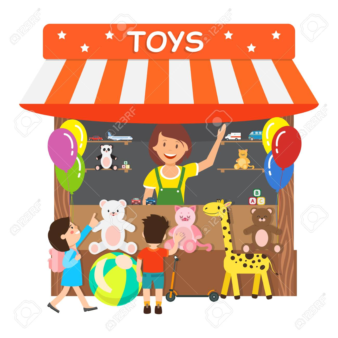 Toys Store Gift Shop Flat Vector Illustration Smiling Woman Royalty Free Cliparts Vectors And Stock Illustration Image 123227536