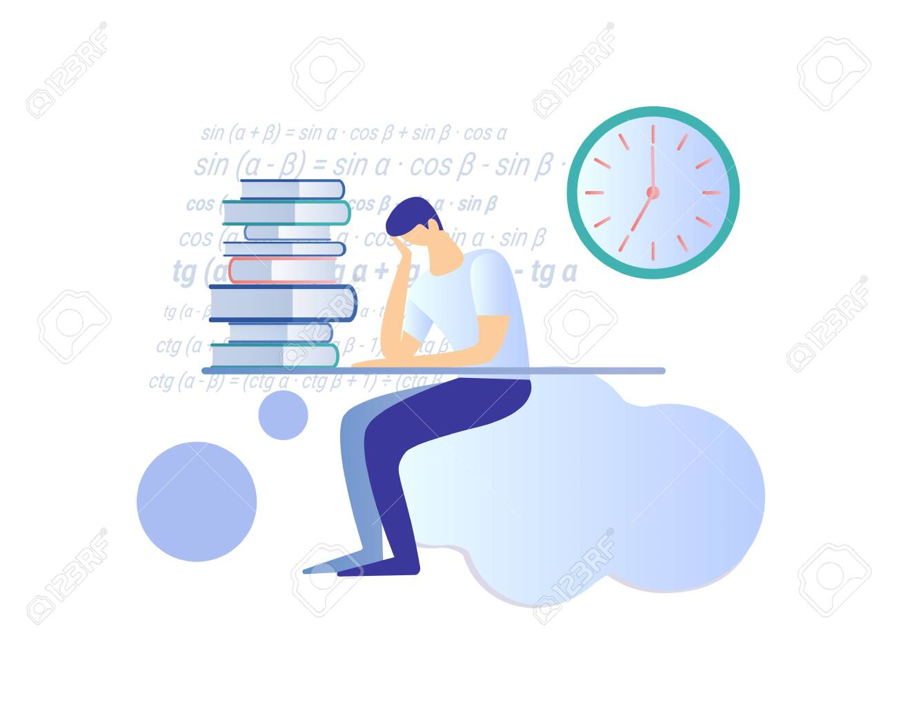 Young Man Sitting at Desk in Thinking Pose with Huge Heap Book