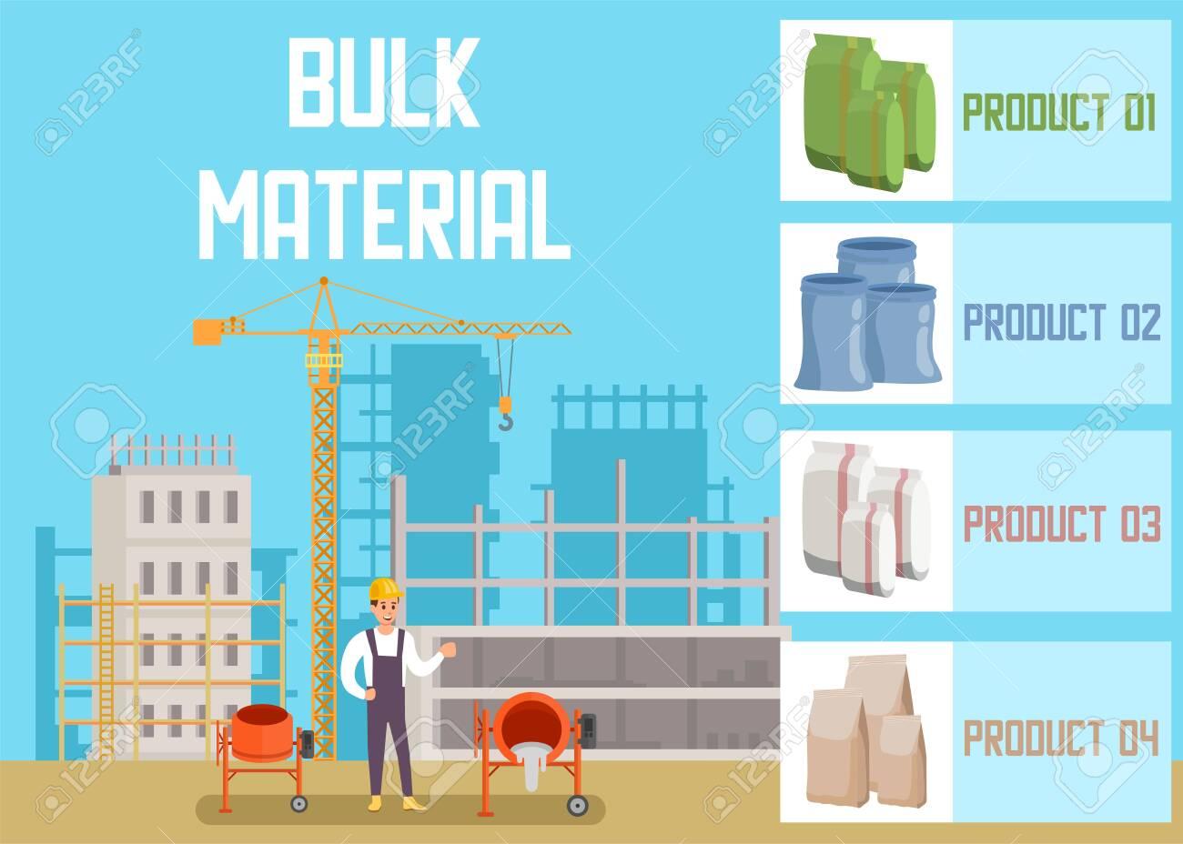 Bulk Building Materials Online Shop Advertising Banner Flat Illustration