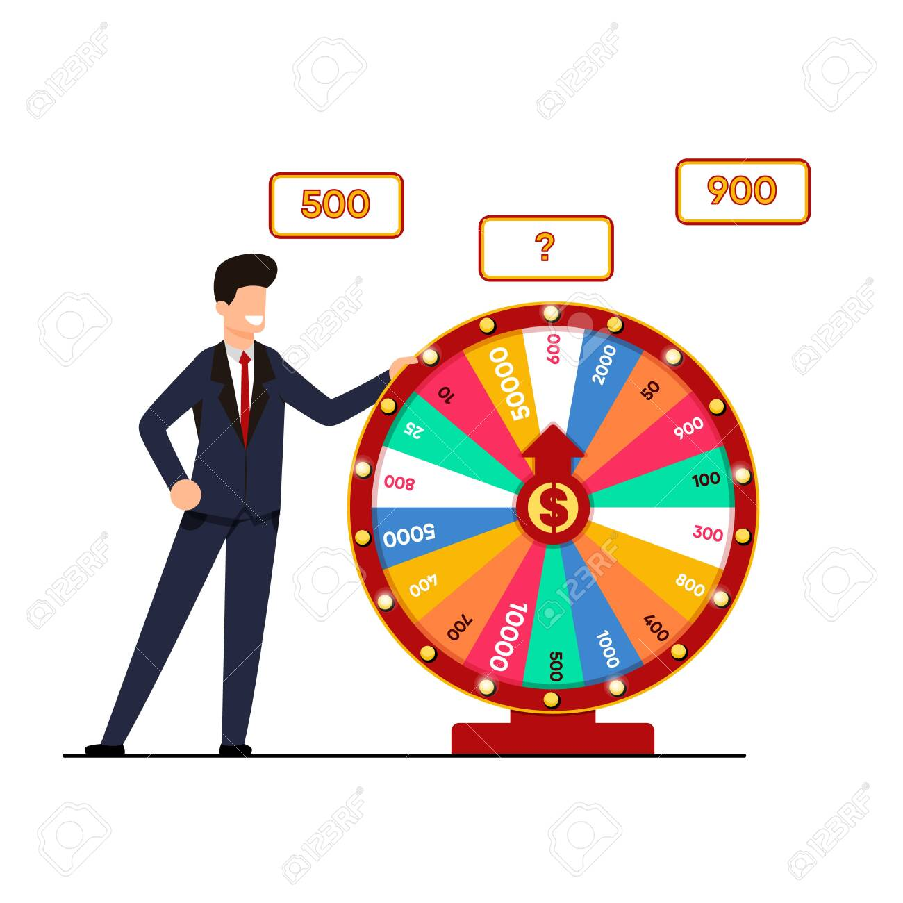 Lottery with Wheel Fortune Vector Illustration. Man Suit Holds Lottery Draw, Spinning Wheel with Winning Amount. Chance to Break Big Score. Fun and Dry for those who Love Risk Cartoon. - 122832144
