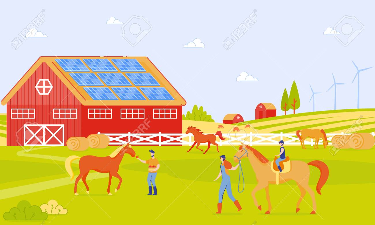 Parents And Children On Horse Farm Cartoon Flat Horse Riding Royalty Free Cliparts Vectors And Stock Illustration Image 123918761