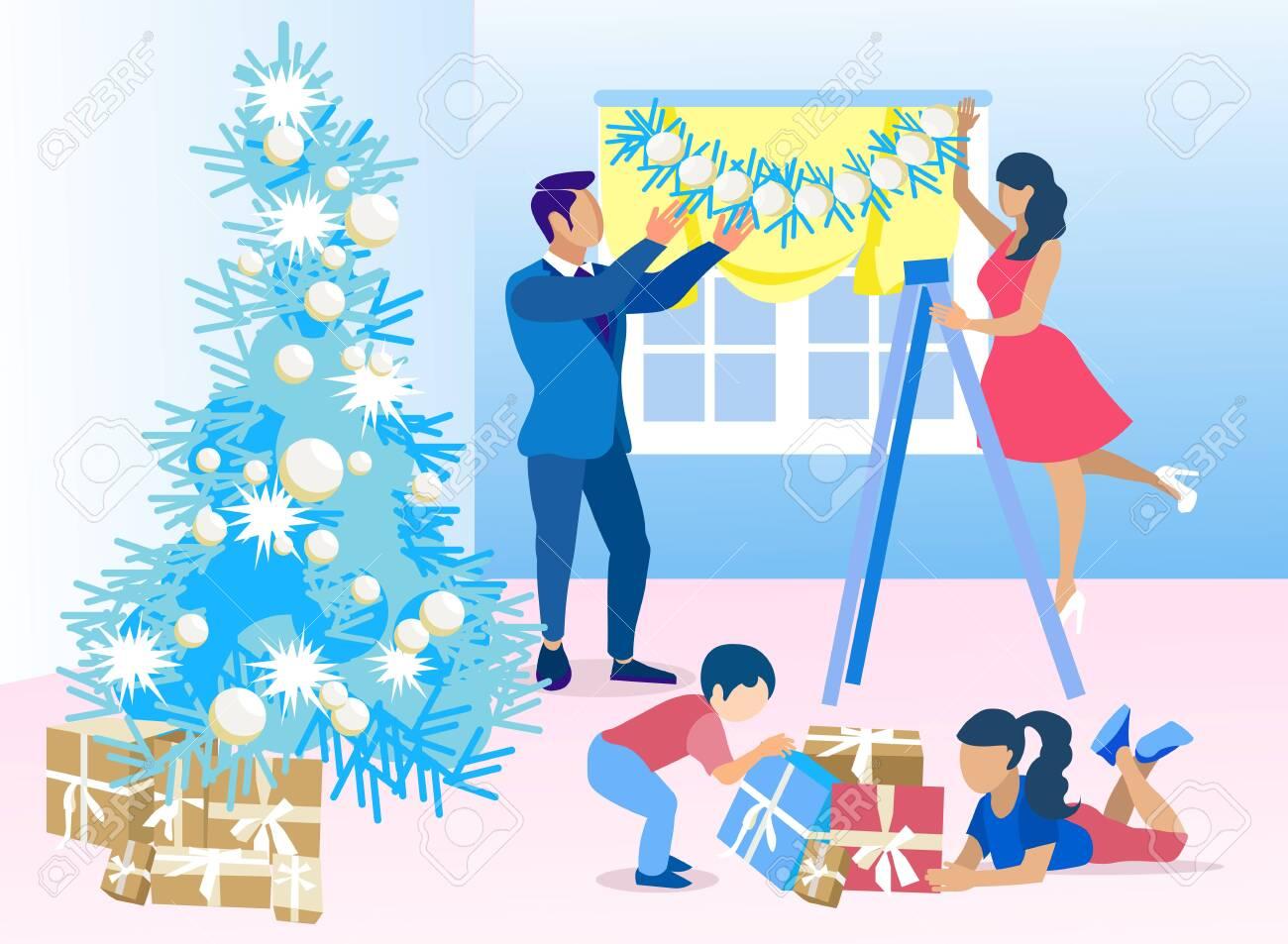 Mother Christmas Cartoon.Last Preparation For Christmas Vector Cartoon Father And Mother
