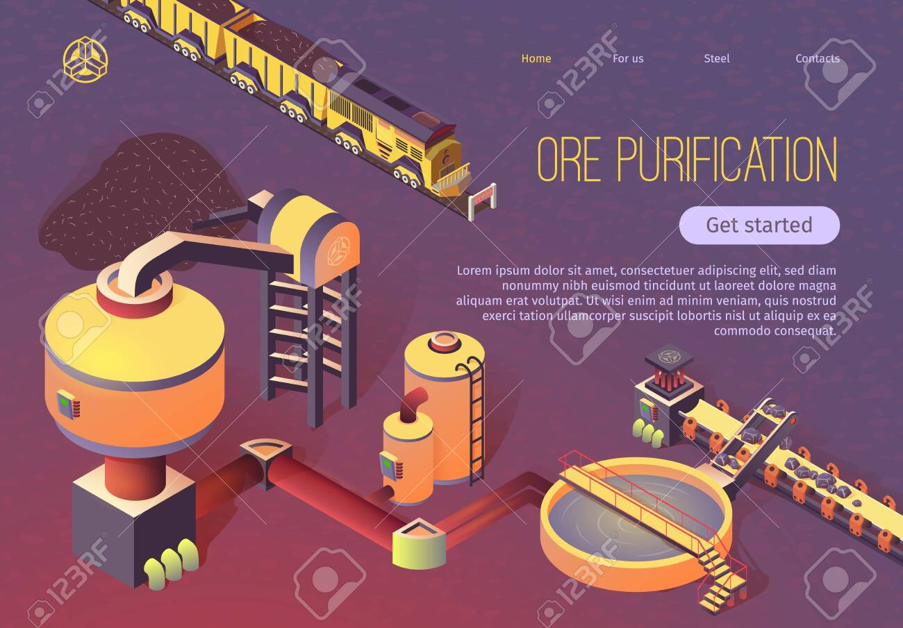 Ore Purification Process at Metallurgy Foundry Isometric Banner