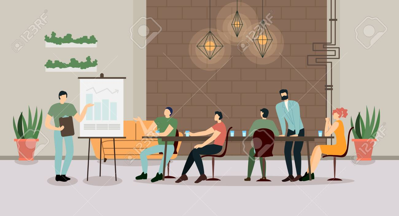 Company Leader, Business Coach, Executive Manager Pointing on Flip Chart Graph, Explaining Company Strategy, Presenting Financial Indicators on Meeting with Employees. Cartoon Flat Vector Illustration - 128676975