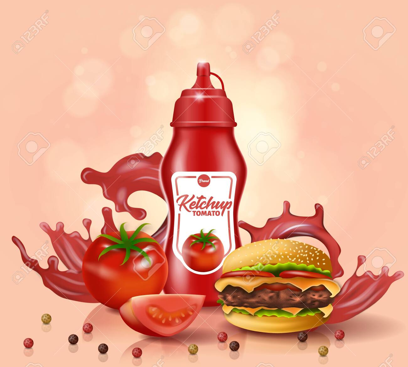 Ketchup Bottle Stand near Fresh Tomato, Burger with Scattered Bell Pepper on Table Surface, with Red Sauce Splash on Pink Background. Advertising Promo for Fast Food, 3D Vector Realistic Illustration - 128748202