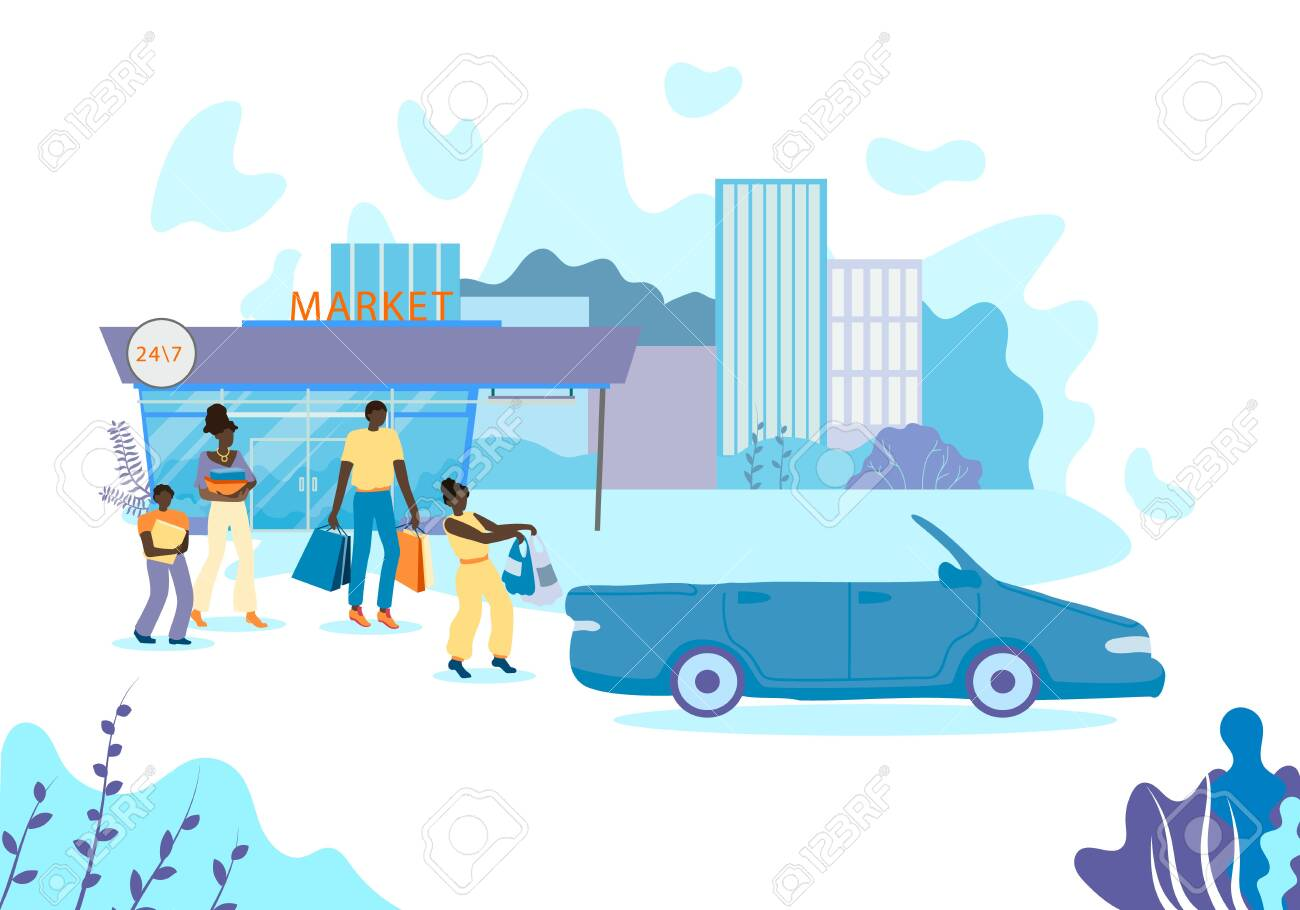 American Dad Wife african american family carries purchases to car. husband and..