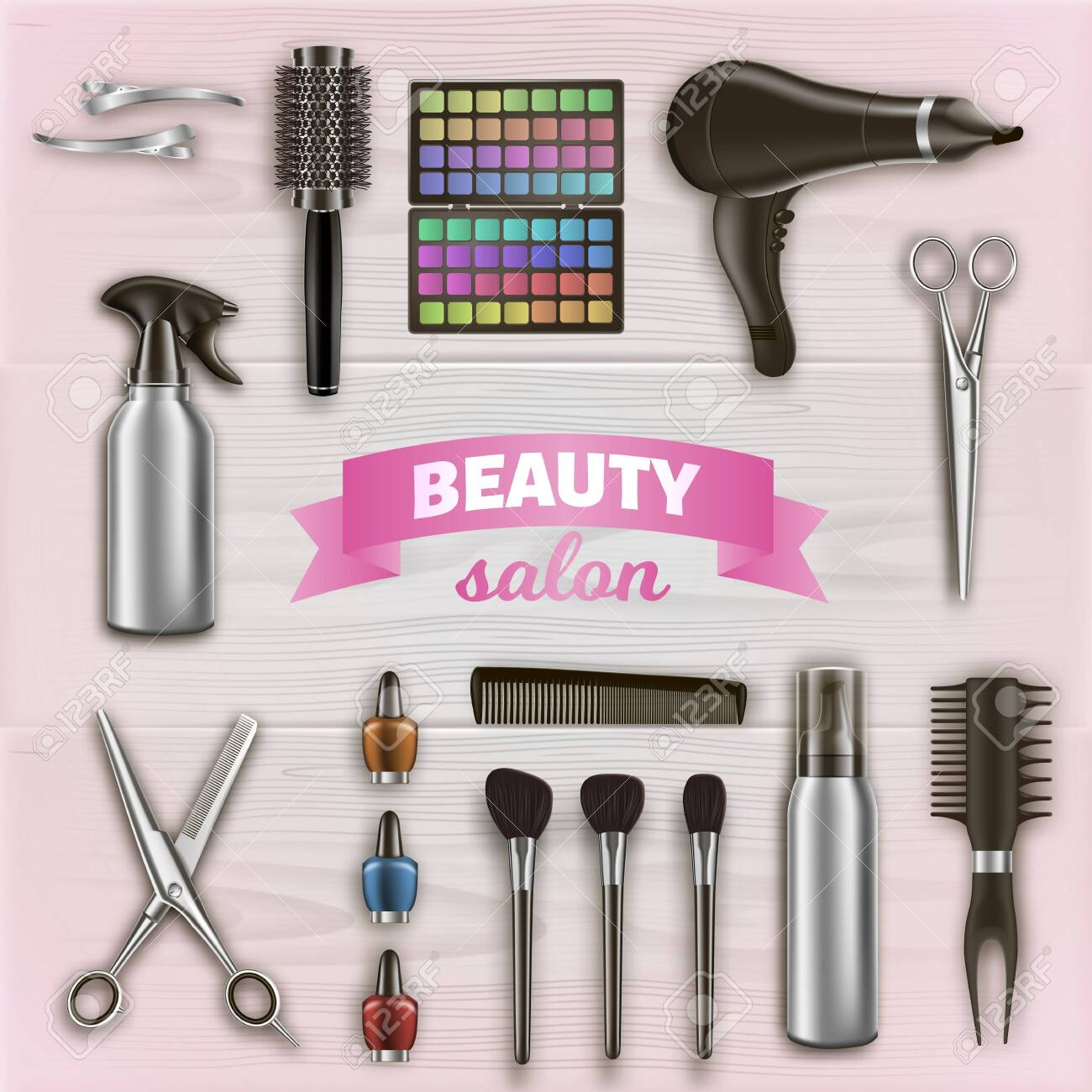 Hairdresser Tools and Cosmetics on Wooden Surface. Scissors and Hairdryer. Logo on Beauty Salon. - 129490427
