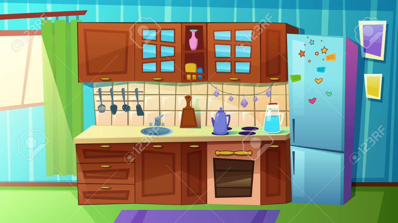 Cozy Modern Kitchen with Household Appliances, Fridge, Stove, Sink. Comfortable Clean Cooking Room with Curtains on Large Window, Tableware, Home Interior Inside. Cartoon Flat Vector Illustration - 129490494