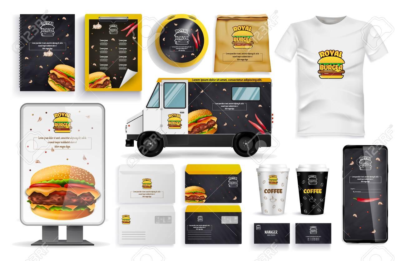 Burger Form, Delivery Vehicle, Online Mobile App, Cardboard Cup, T-shirt, Pockets, Sending Envelopes, Cards, Banners and Set. - 131021162