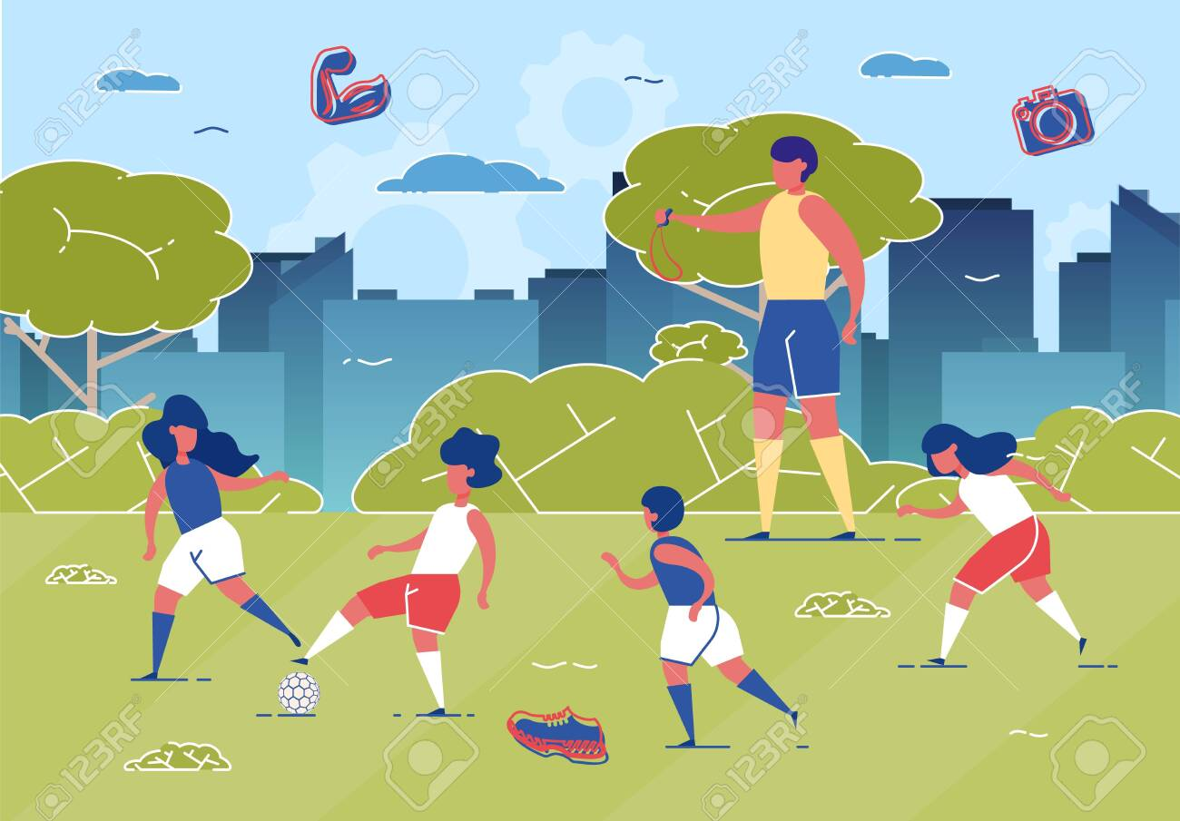 Children Playing Football on Grass Field with Ball Flat Cartoon Vector Illustration. Couch with Whistle Training Kids. Girls and Boys Running in Park. Active and Healthy Lifestyle. - 130455290