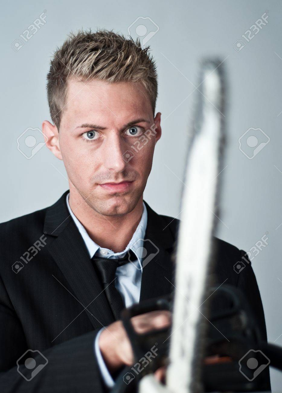young business man going crazy Stock Photo - 11155795