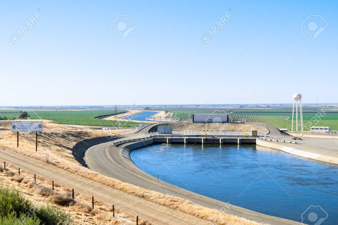 """The """"Dos Amigos"""" pumping plant pushes water up hill on the San Luis Canal, part of the California Aqueduct system; Los Banos, central California - 115397448"""