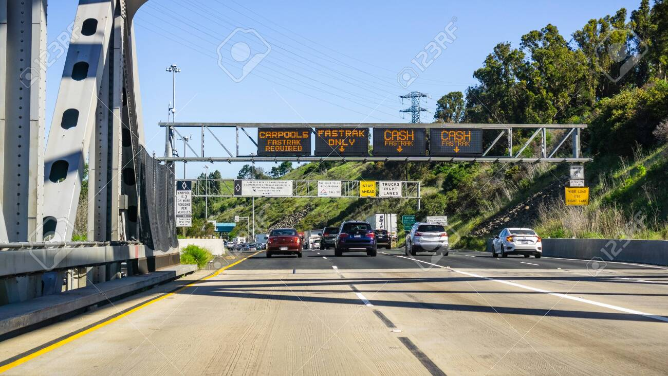 April 22, 2019 Martinez / CA / USA - Traffic lanes designation