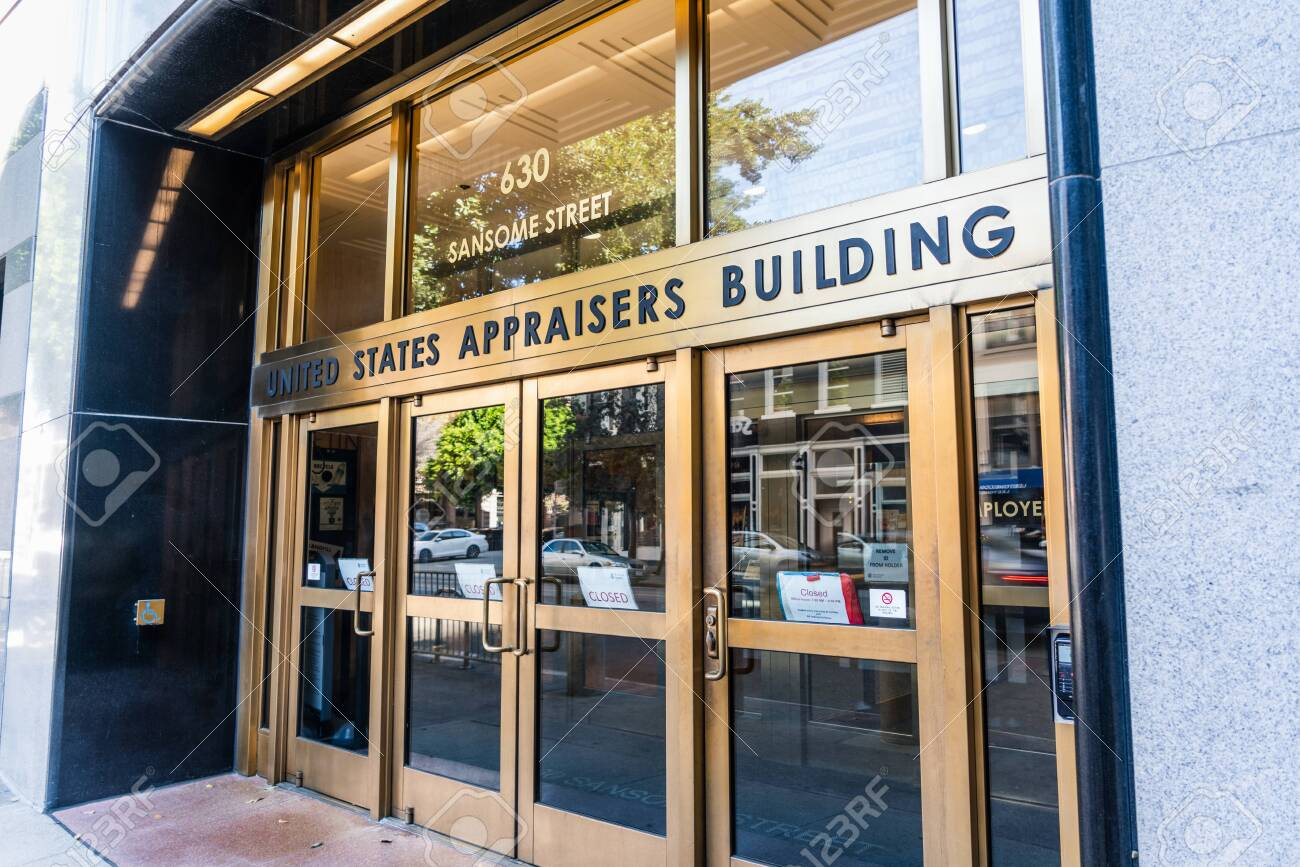 Nov 17, 2019 San Francisco / CA / USA - United States Appraisers building entrance in the Financial District; The building is housing several federal agencies such as USCIS, ICE and USDA - 147190514