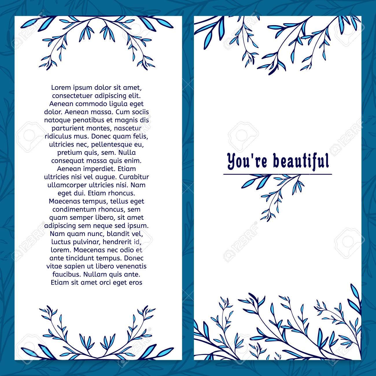 Vertikale-Schablone Grußkarte Mit Platz Für Ihren Text. Verziert Mit ...