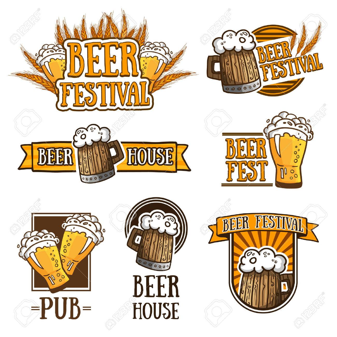 Set Of Color Logos, Icons, Signs, Badges, Labels And Beer. Template ...
