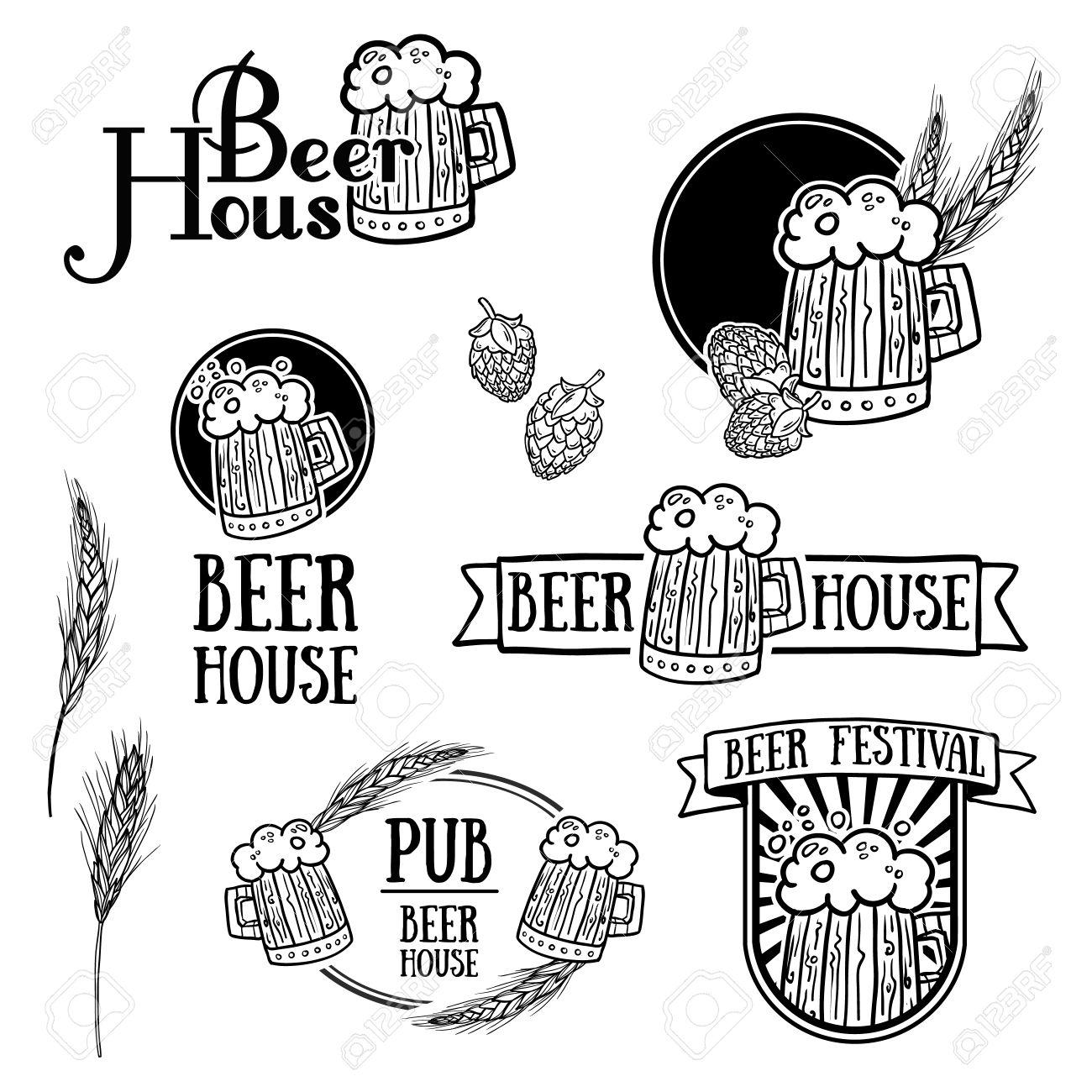 ビンテージの白黒レトロなロゴアイコン記号バッジやビールのラベル
