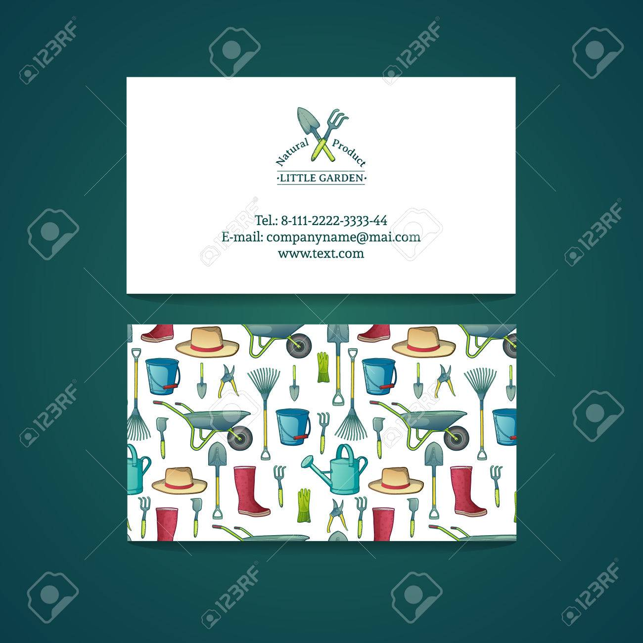 Template design business card with garden tools pattern and template design business card with garden tools pattern and card gardening vector place reheart Choice Image