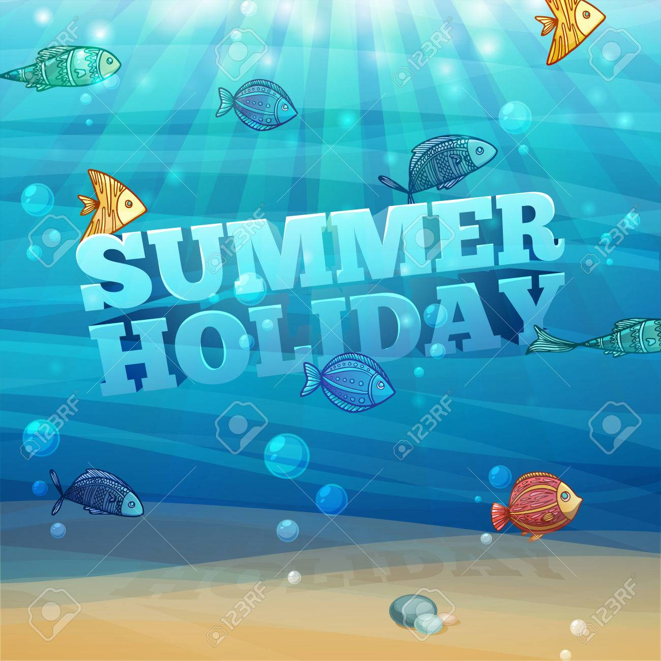 template design posters banners with underwater background with waves sand bubbles and