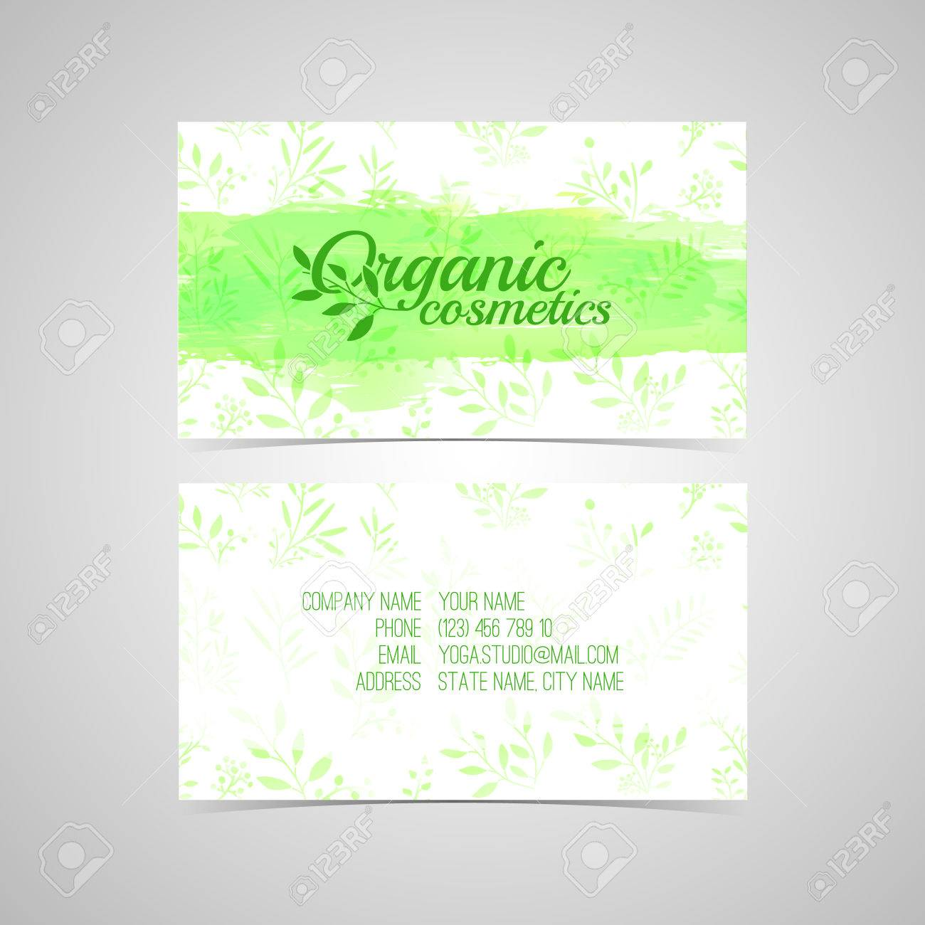 Design Template For Organic Cosmetics Business Card With Watercolor ...