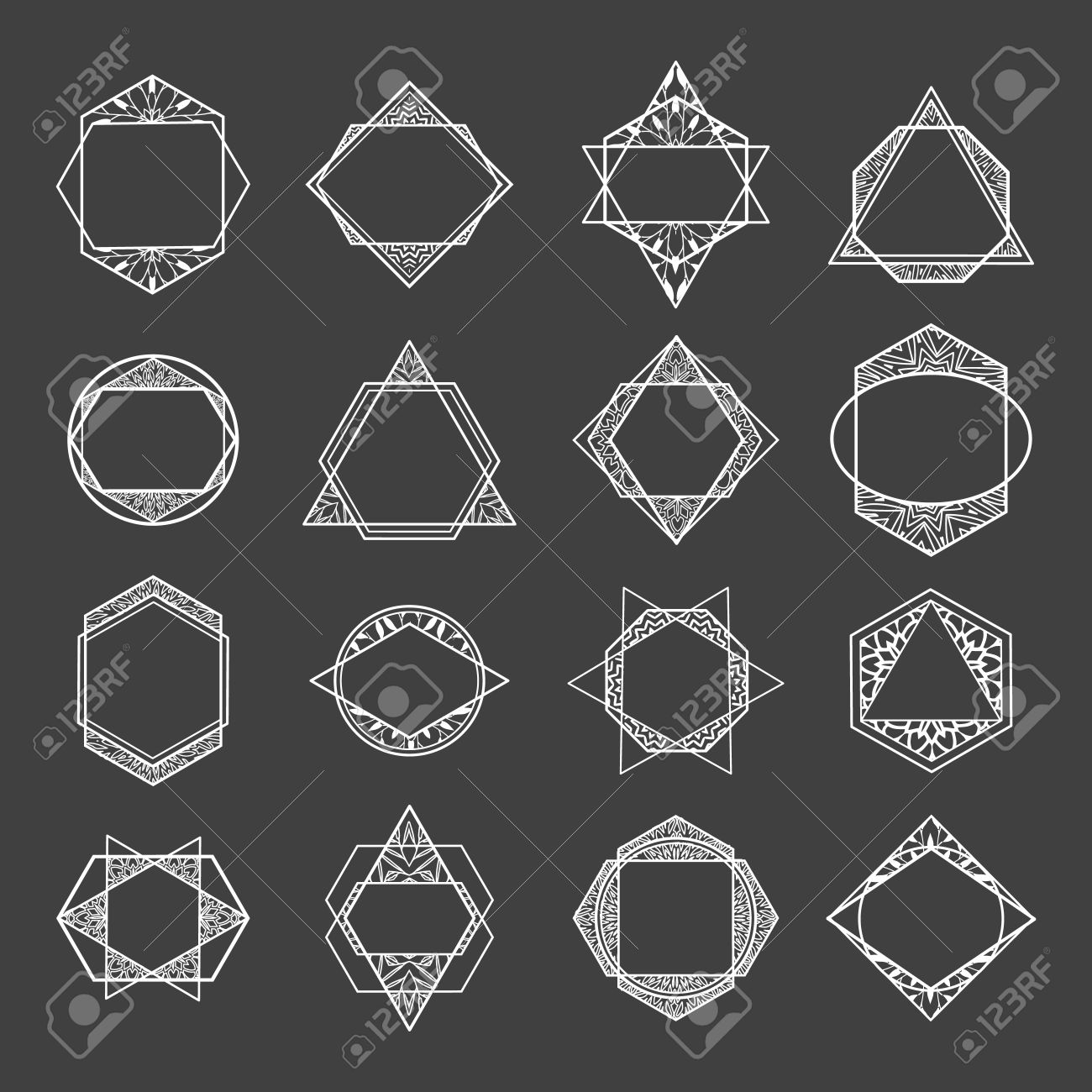 Set Minimalist Abstract Geometric Shapes Symbols And Logos Polygon Frame Badges Icons