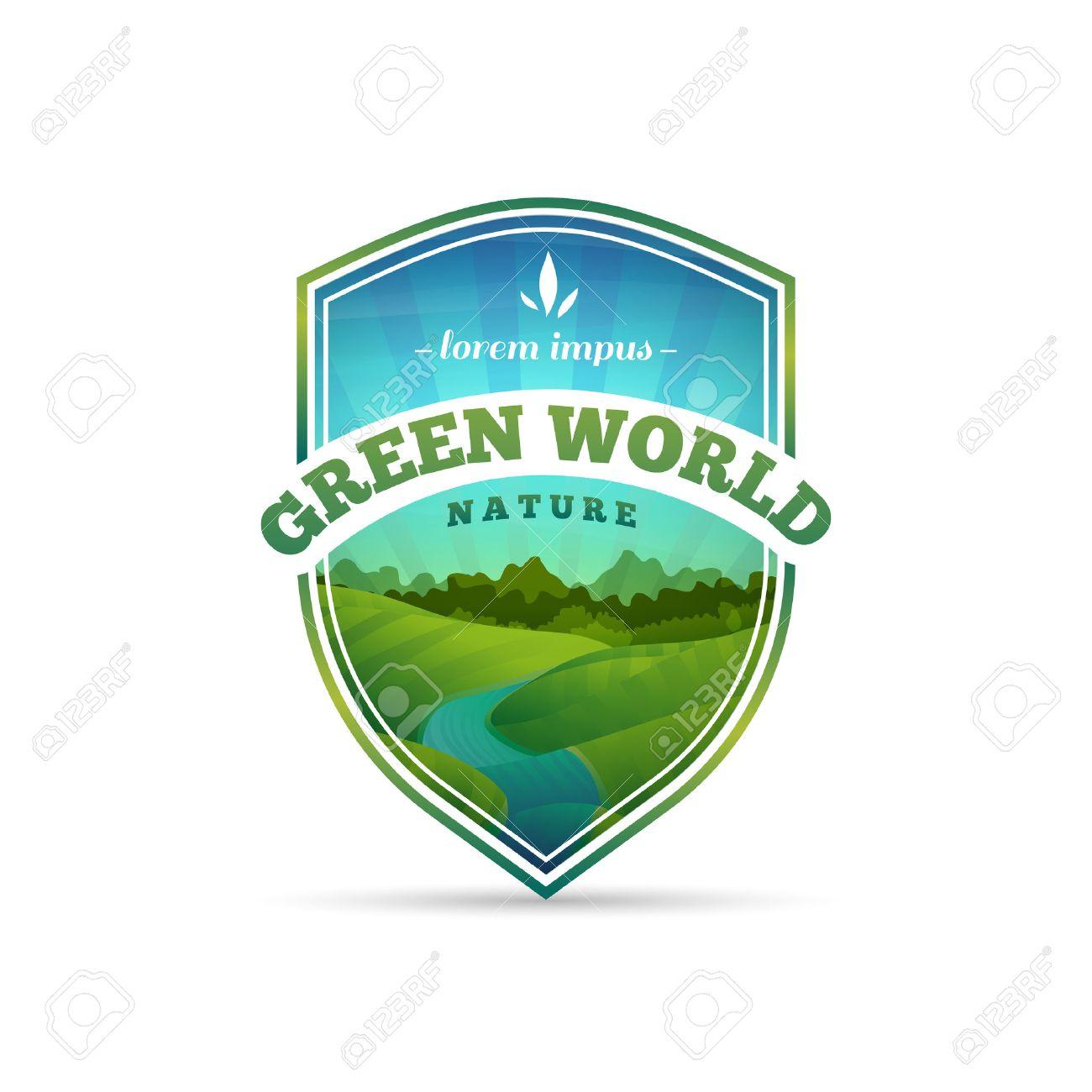 Logotipo, Muestra, Insignia En Forma De Un Escudo Con La Naturaleza ...