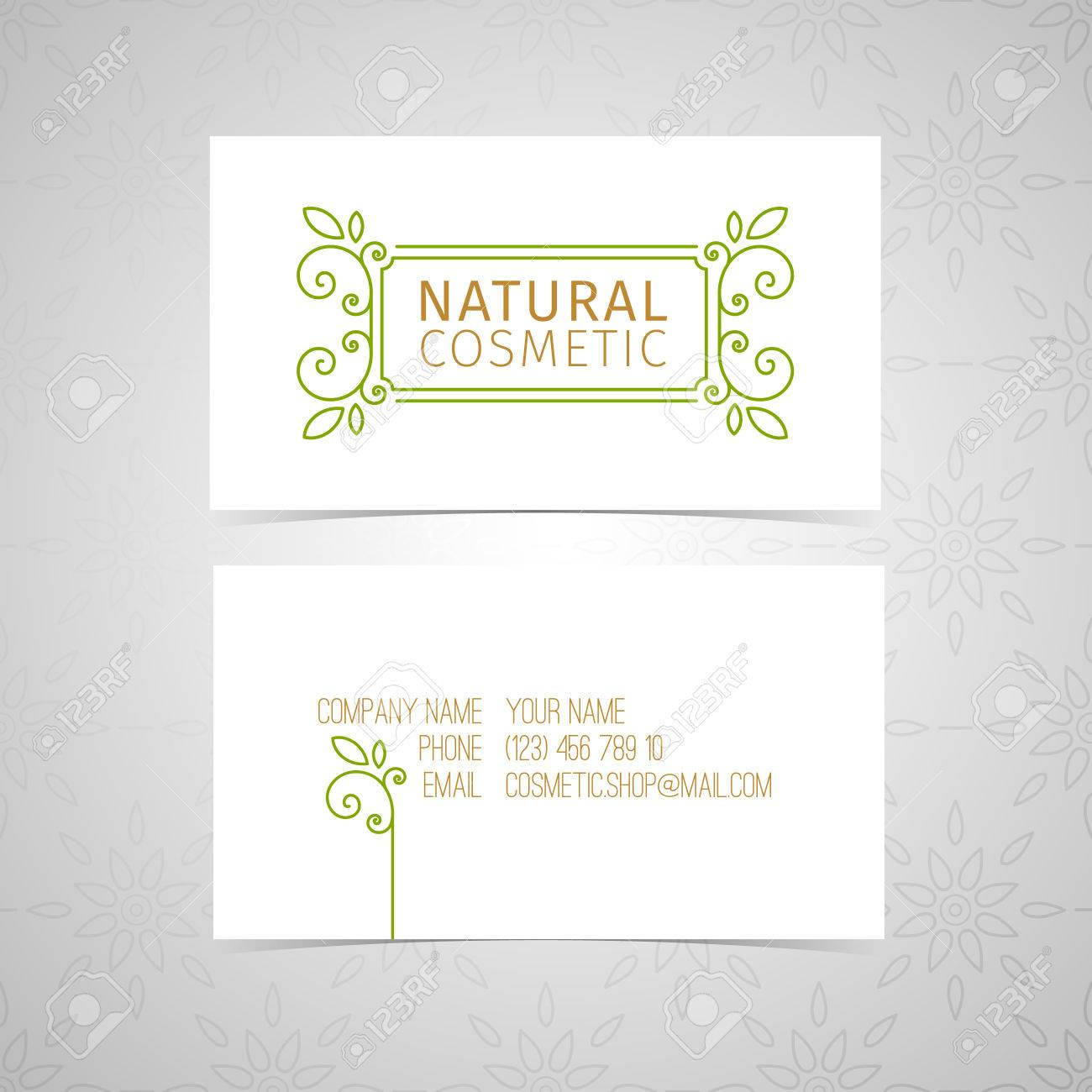 Template Design Of Natural Cosmetics Business Card. Linear Decor ...