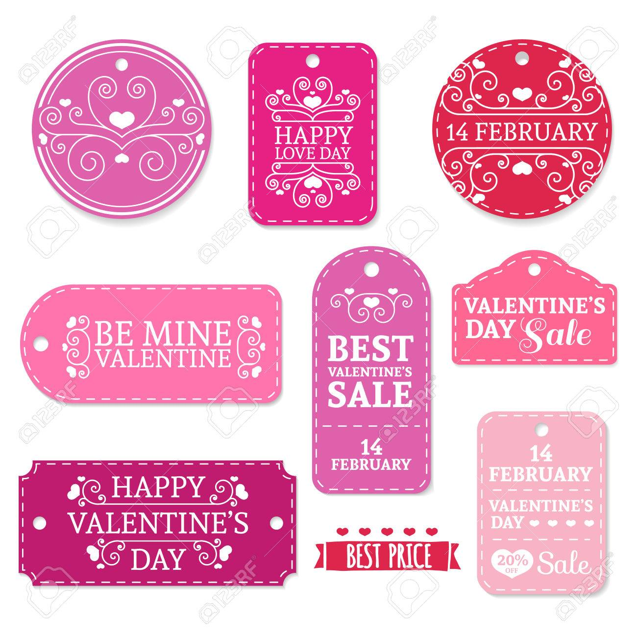 set of pink valentines day stickers labels labels couponsvalentines day discounts