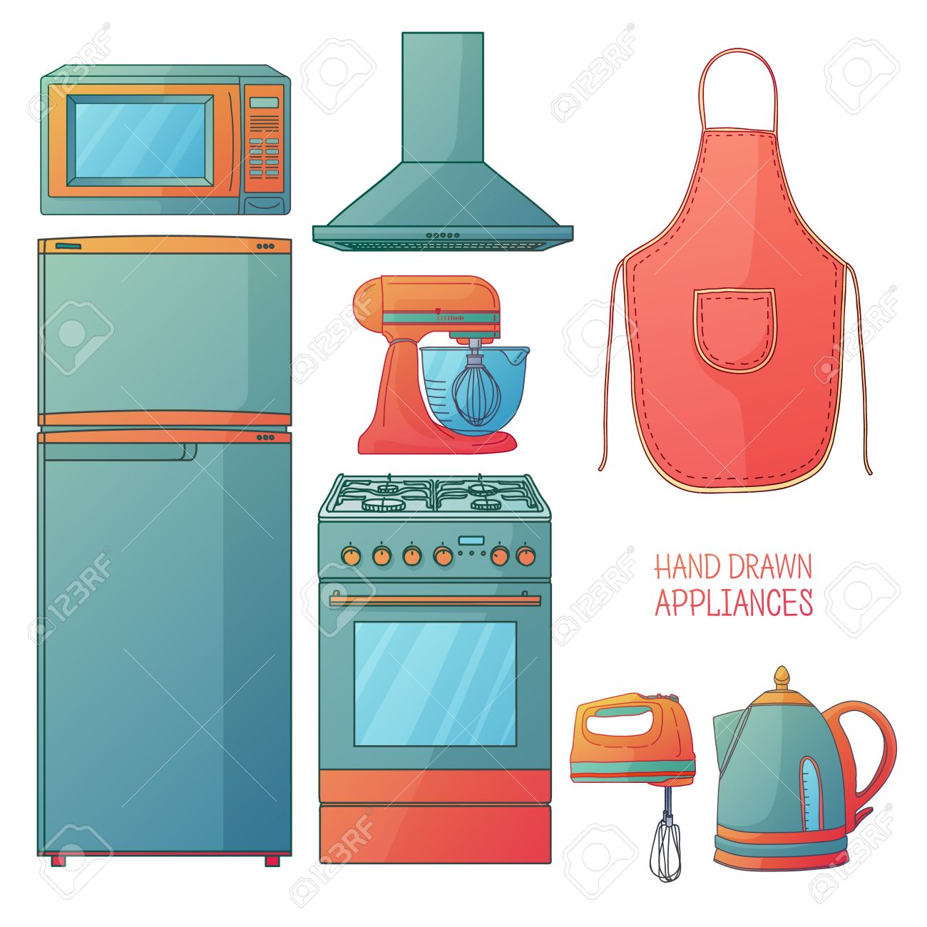 Cartoon kitchen appliances - Set Of Kitchen Tools Kitchen Household Furniture In A Cartoon Style Silhouette Of Kitchen