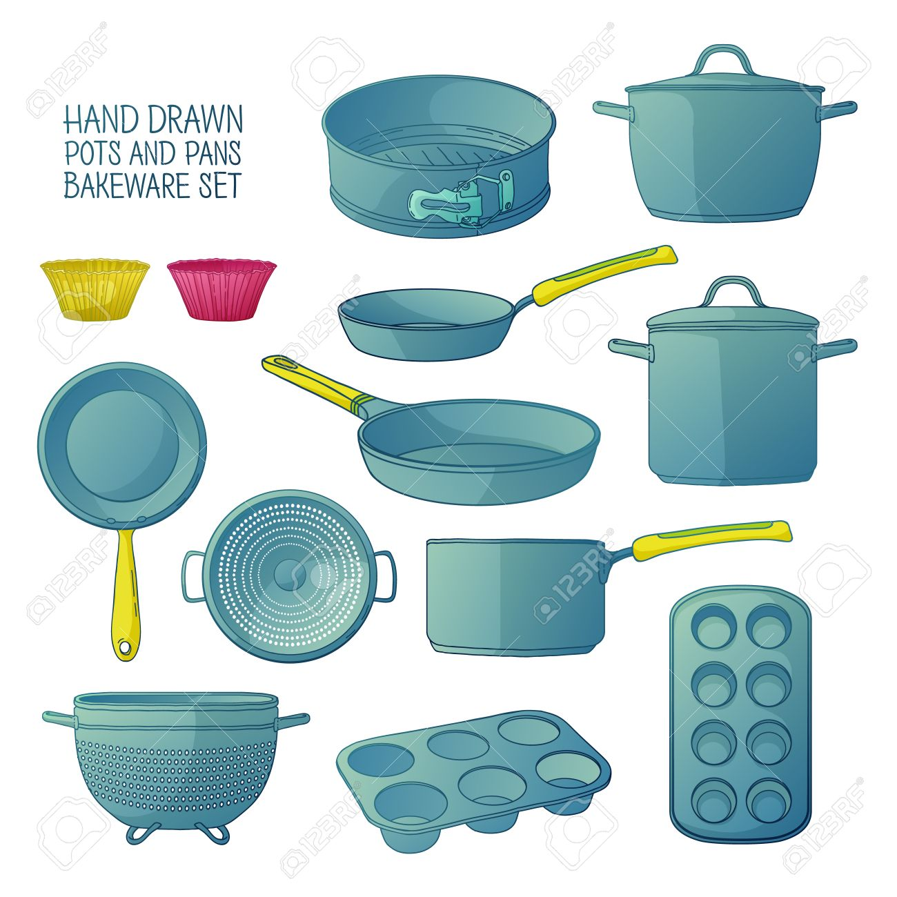 Cartoon Kitchen Utensils For Baking. A Set Of Dishes For Baking ...