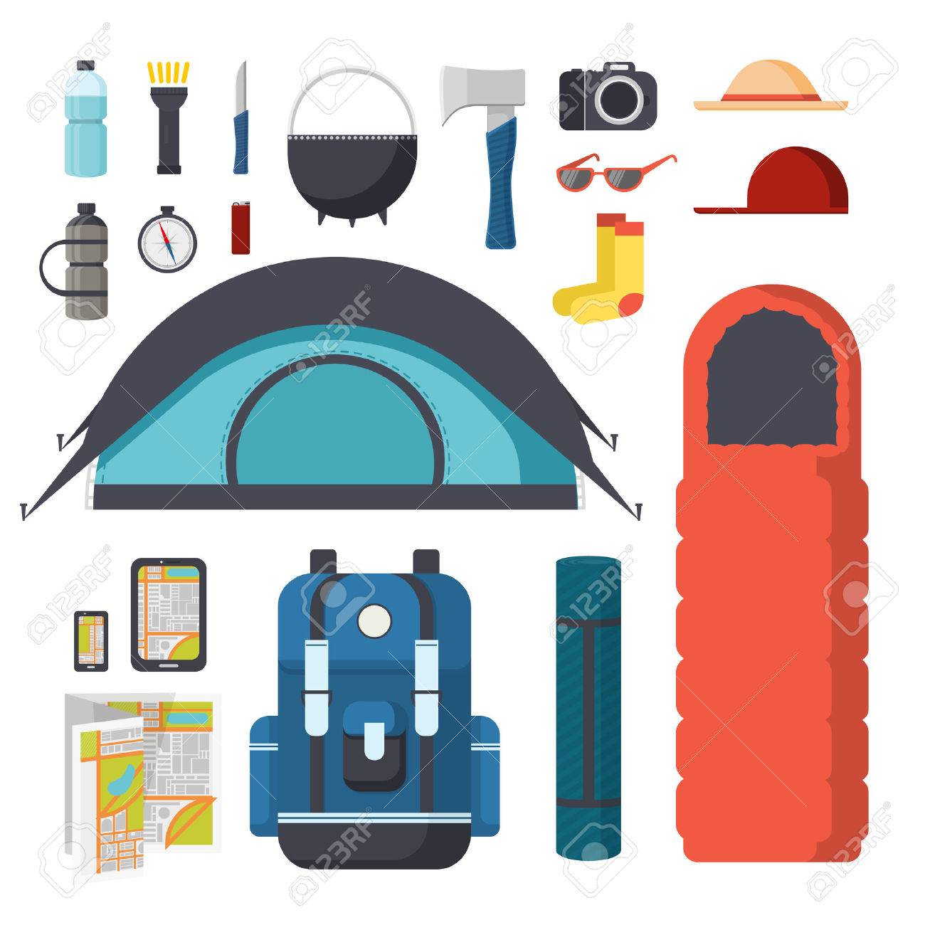 Collection of items for hiking and c&ing. Traveler Set - tent sleeping bag  sc 1 st  123RF.com & Collection Of Items For Hiking And Camping. Traveler Set - Tent ...
