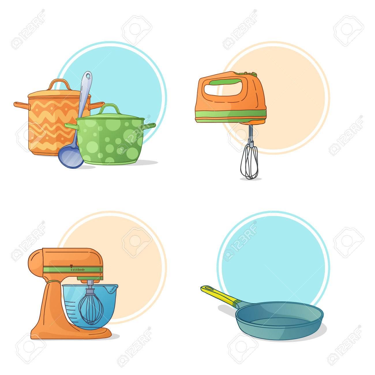 Eine Reihe Von Küchenutensilien In Einem Cartoon-Stil. Küchengeräte ...