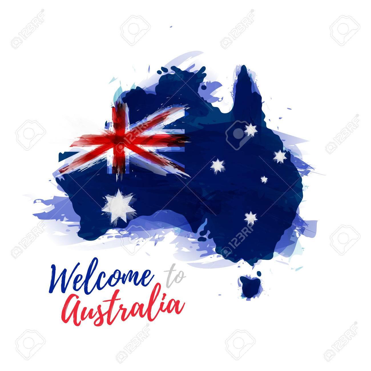 Carte Australie Drapeau.Symbole Affiche Banniere Australie Carte De L Australie Avec La Decoration Du Drapeau National Style De Dessin A L Aquarelle Carte De L Australie
