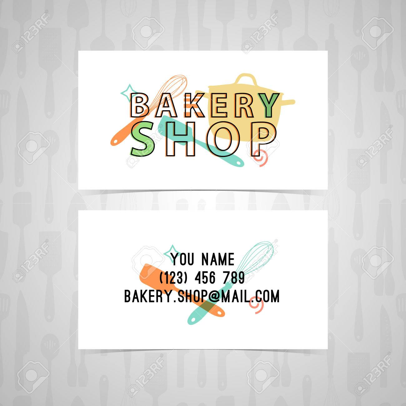 Template design business card for a bakery the design of the template design business card for a bakery the design of the icon stamp reheart Gallery