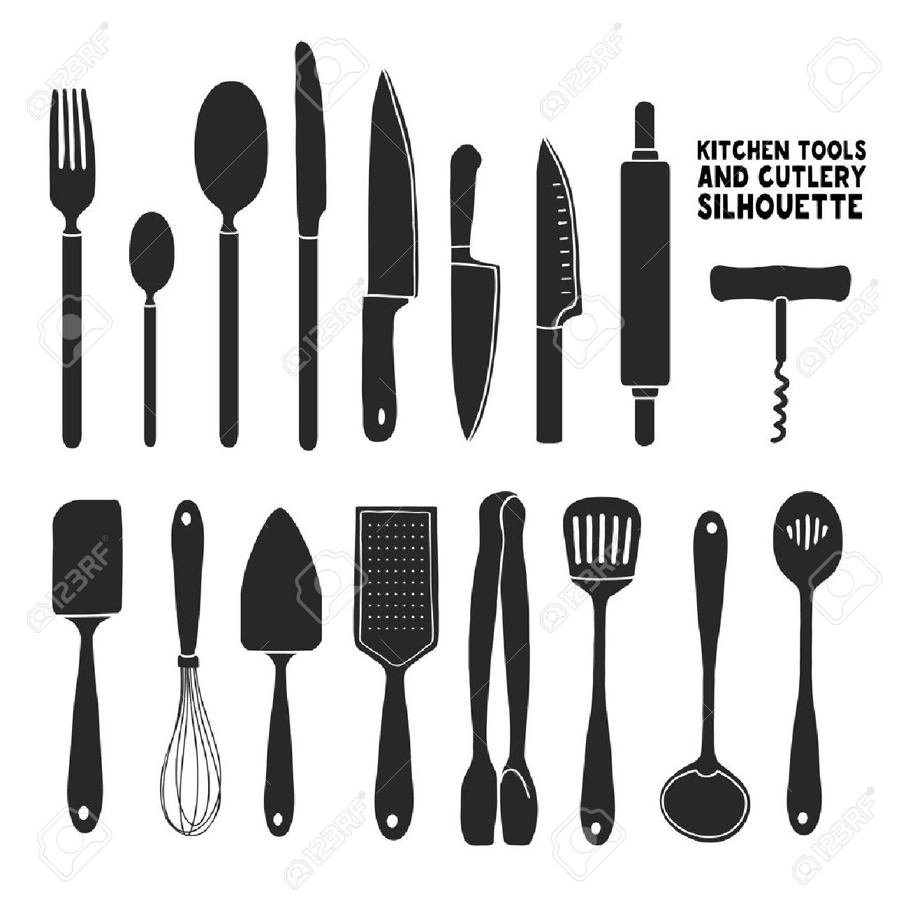 Set Of Silhouettes Cutlery. Spoon, Fork, Blender, Knives. Cutlery ...