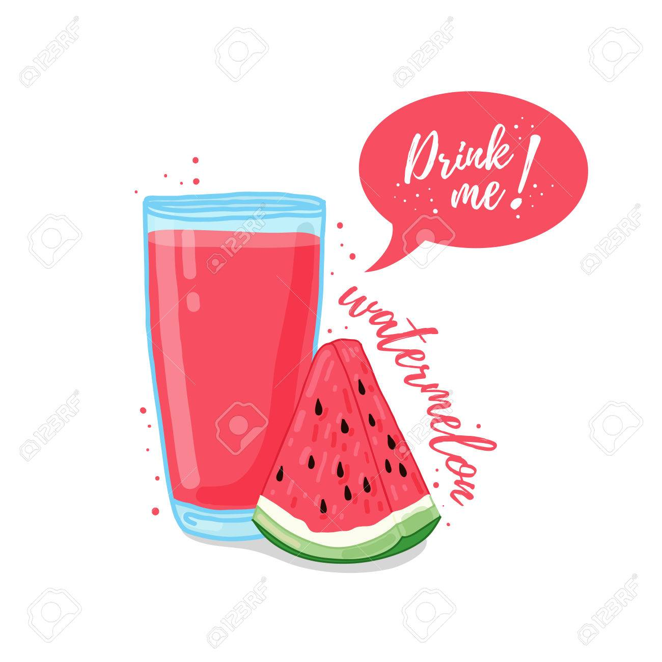 design template poster icons watermelon smoothies illustration