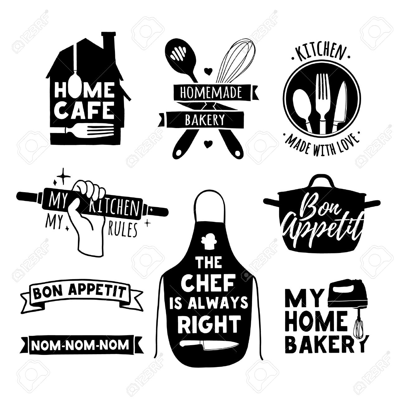 Set of vintage retro badges, labels and elements, retro symbols for bakery shop, cooking club, cafe, food studio or home cooking. Template with silhouette cutlery. - 63113913