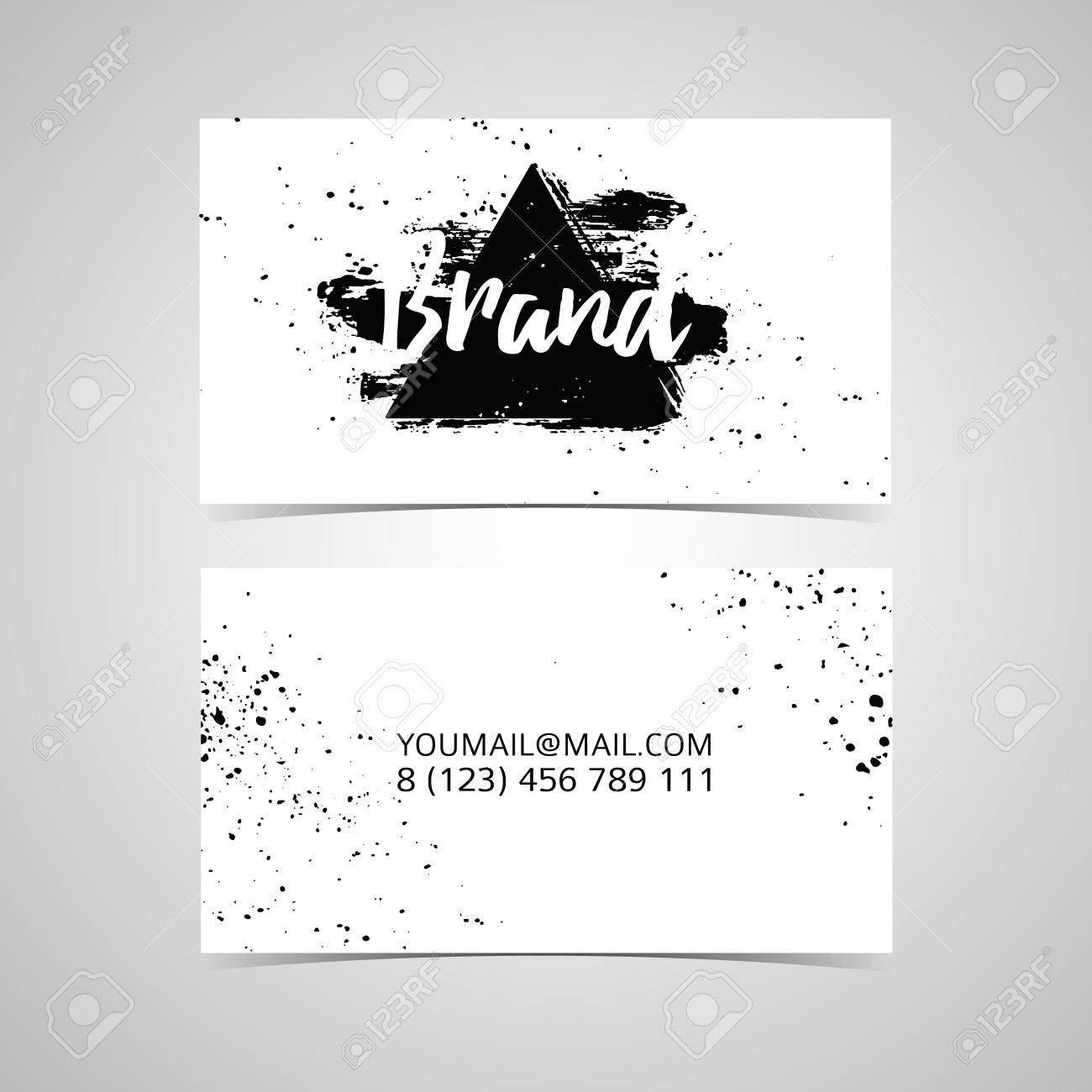 Monochrome Design Template Business Card With Ink Spots In A ...