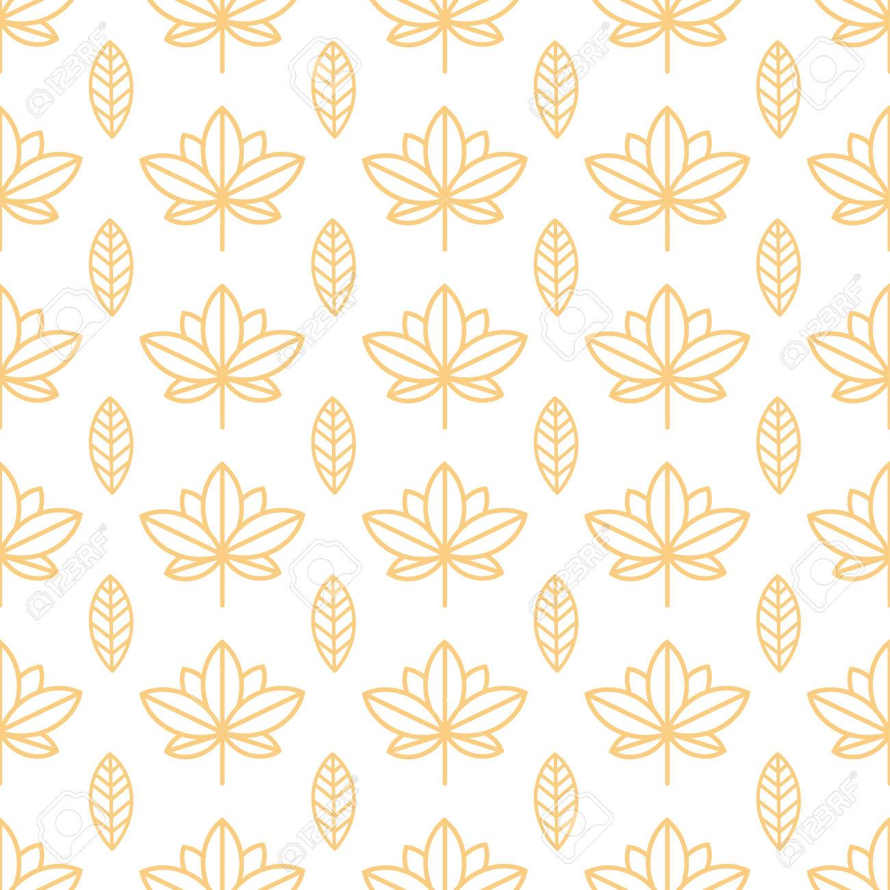 Seamless Orange Wallpaper With A Natural Pattern Of Leaves In