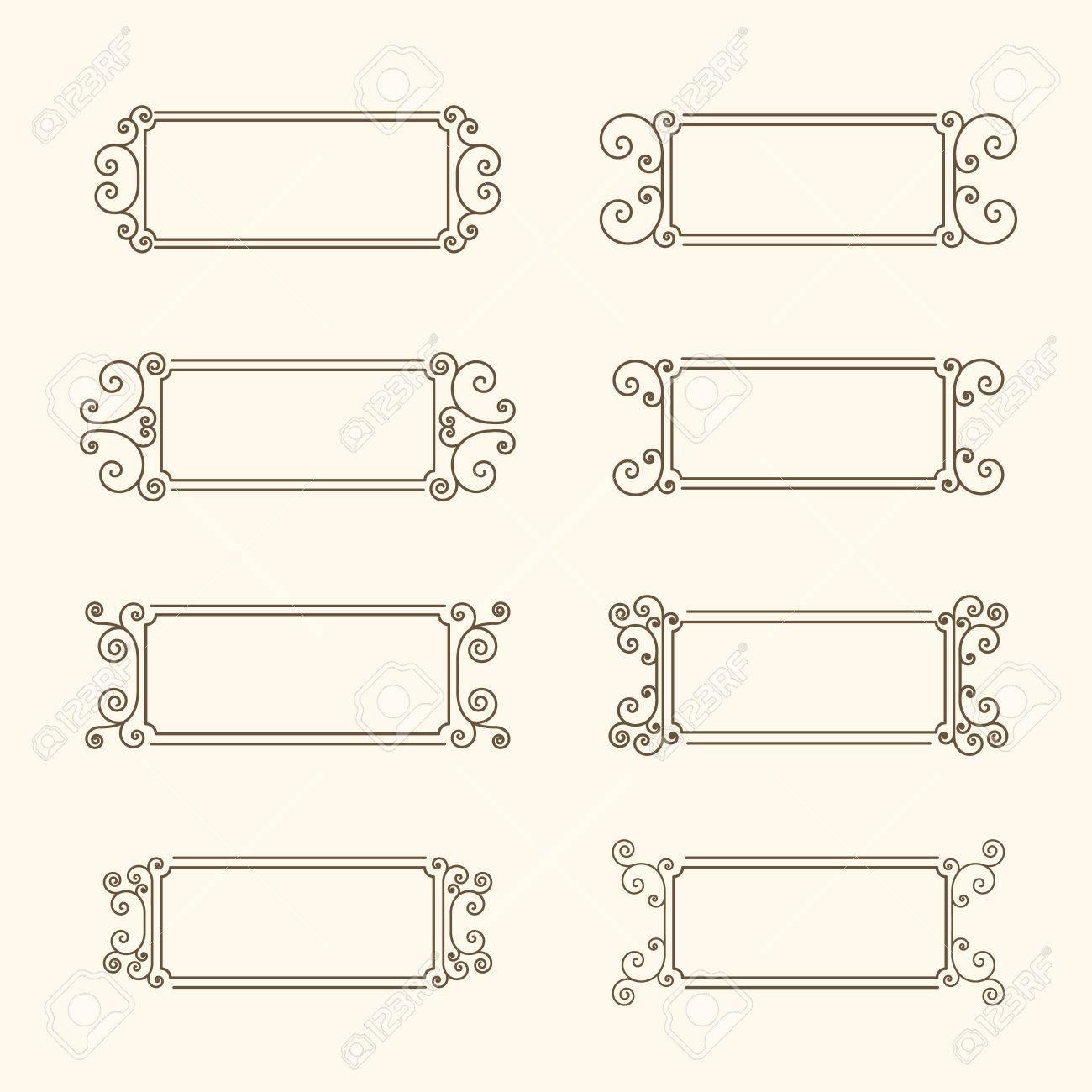 Conjunto De Cuadros De época Capítulo Con Remolinos Y Decoración De Las Hojas Marco Decorativo Para Las Invitaciones Tarjetas De Felicitación