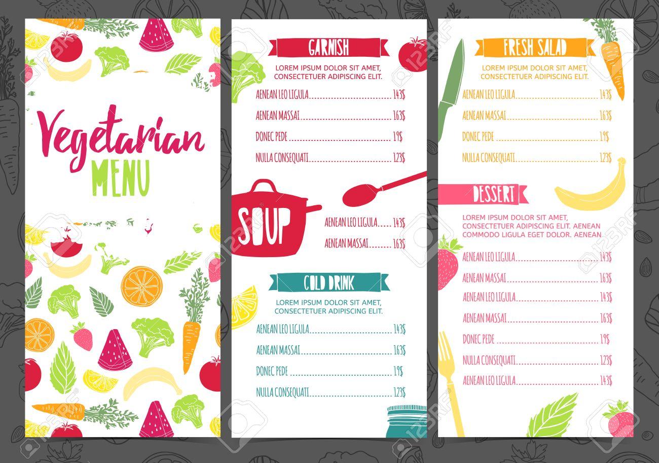 set collection design template vertical vegetarian menu. corporate