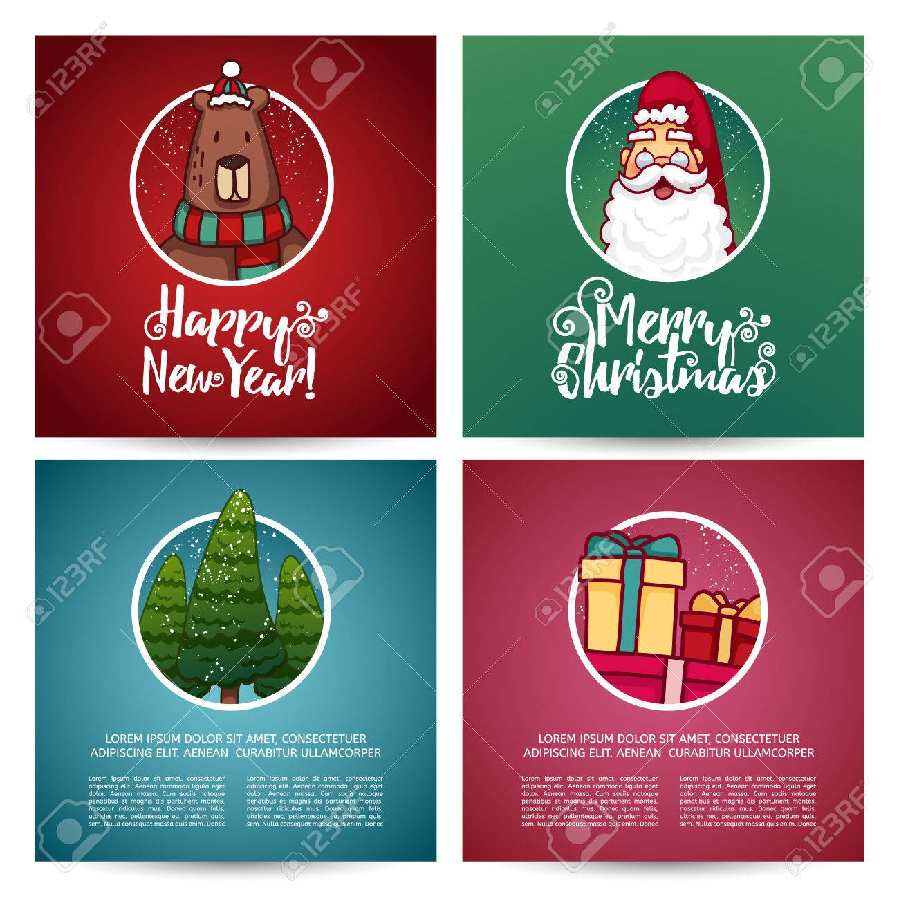 Set Of Designs Christmas Cards Template. Christmas Card With ...