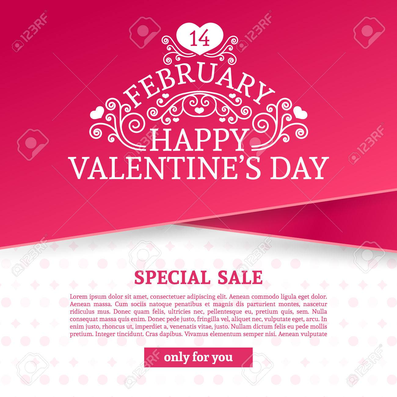Template Design Valentine Banner Happy Valentines Day Brochure