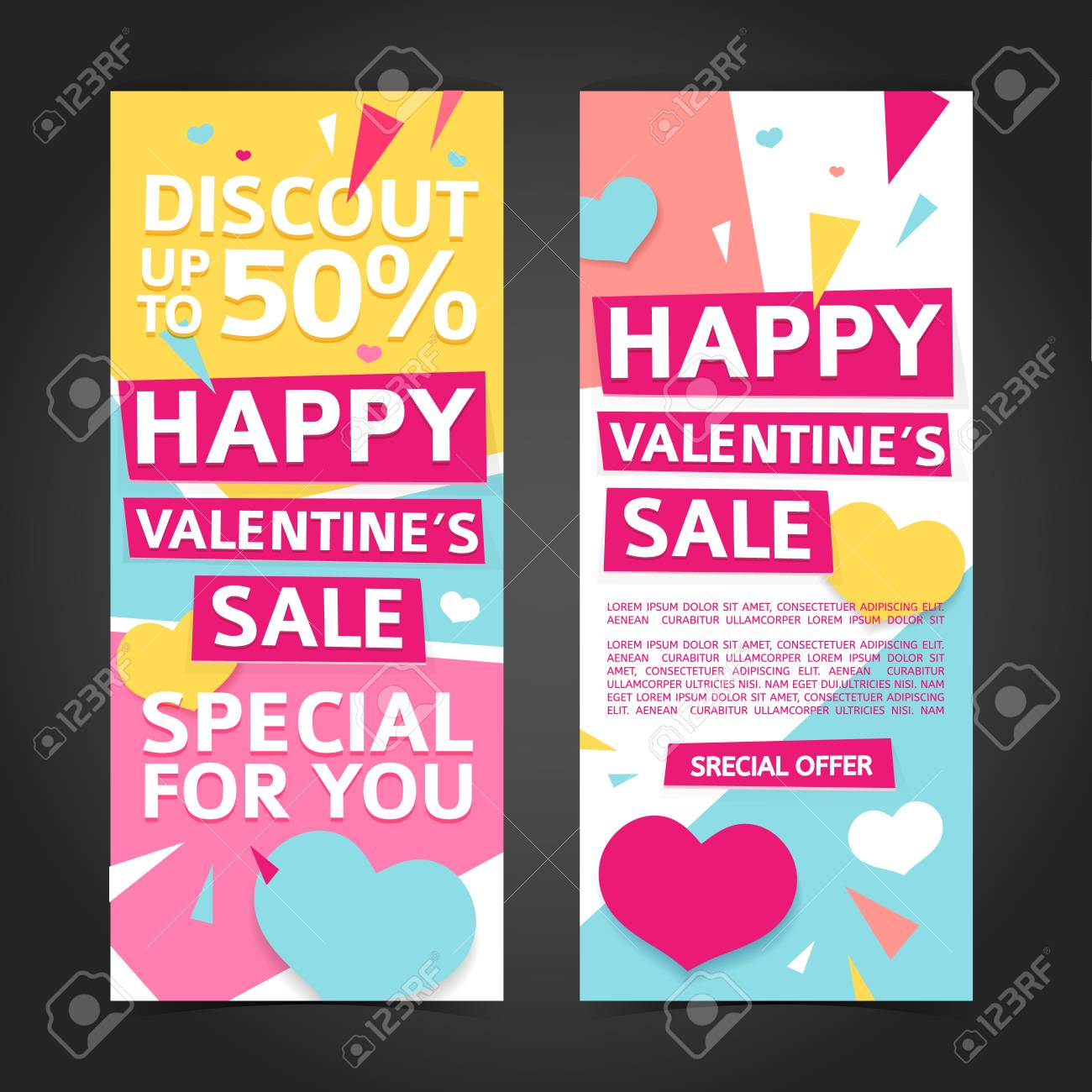 Template Design Vertical Banner For Valentines Day Special Offer