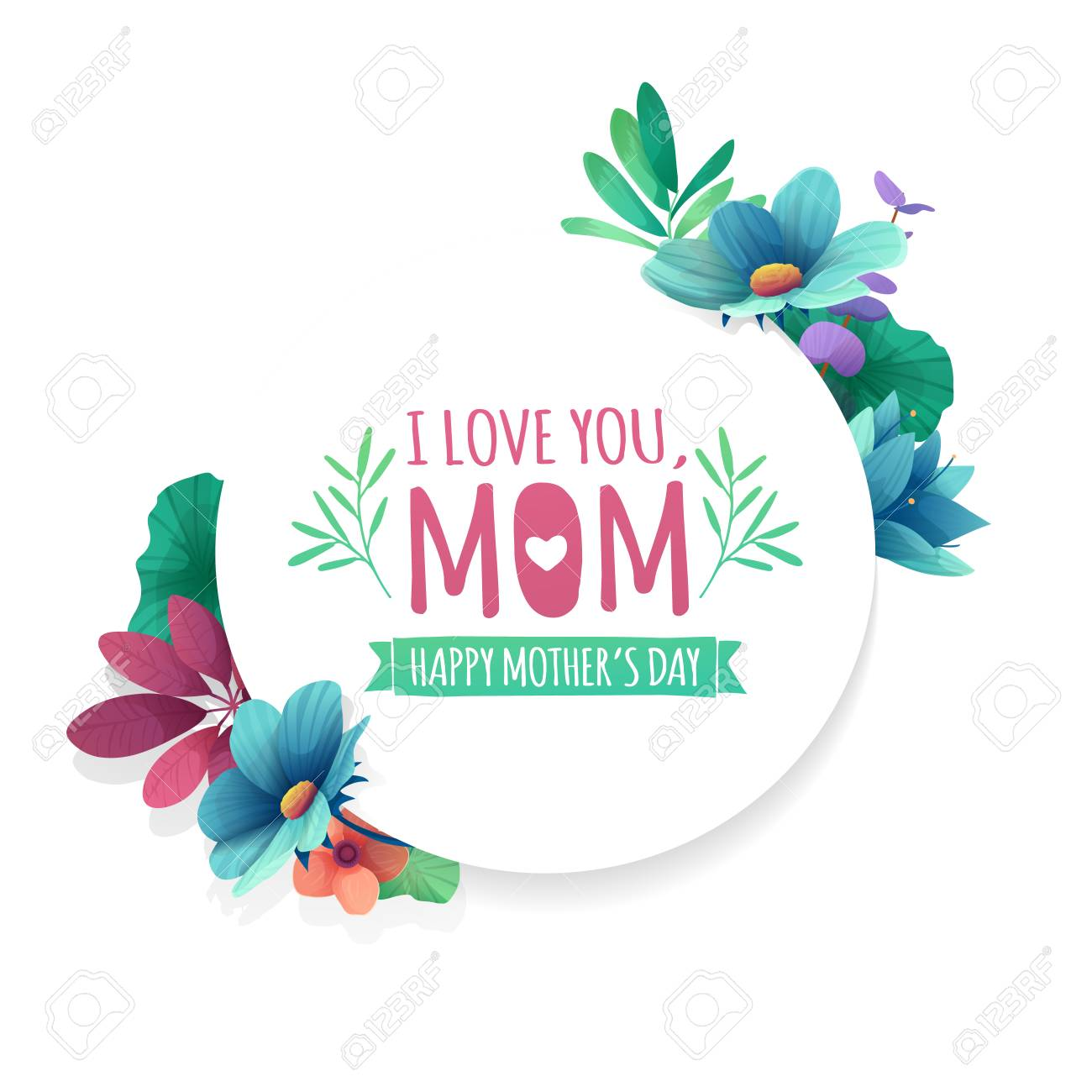 Round Banner With I Love You Mom Logo Card For Happy Mothers