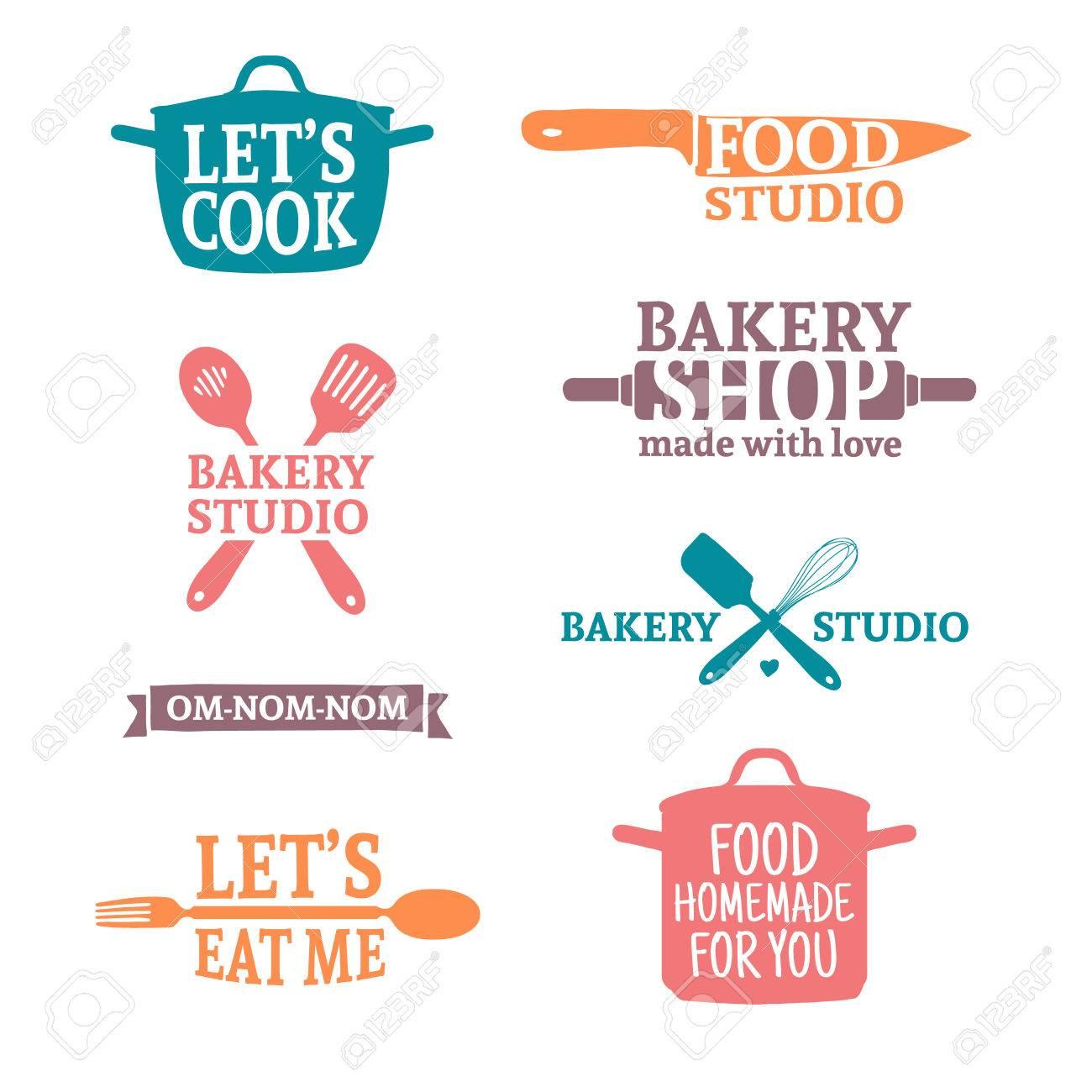 set di quadri vintage vintage a colori etichette e elementi di logo simboli retr per panetteria club di cucina studio alimentare o cucina casalinga