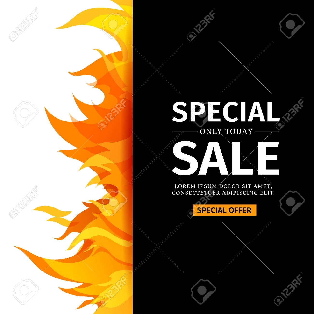 Template design vertical banner with special sale card for hot vector template design vertical banner with special sale card for hot offer with frame fire graphic stopboris Images